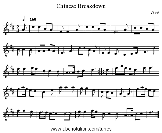 Chinese Breakdown - staff notation