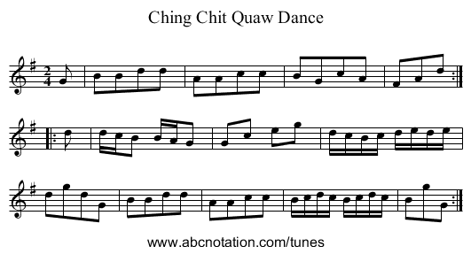 Ching Chit Quaw Dance - staff notation