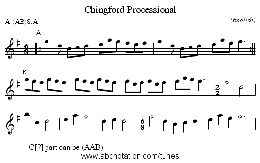 Chingford Processional - staff notation