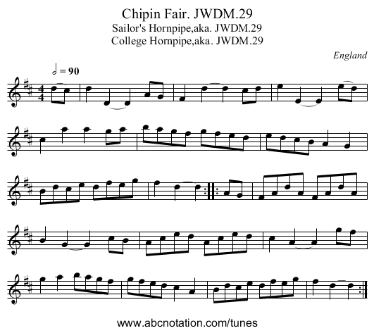 Chipin Fair. JWDM.29 - staff notation