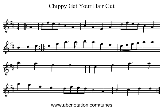 Chippy Get Your Hair Cut - staff notation