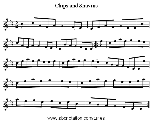 Chips and Shavins - staff notation