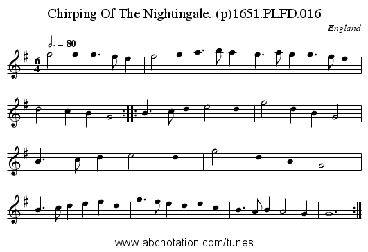 Chirping Of The Nightingale. (p)1651.PLFD.016 - staff notation