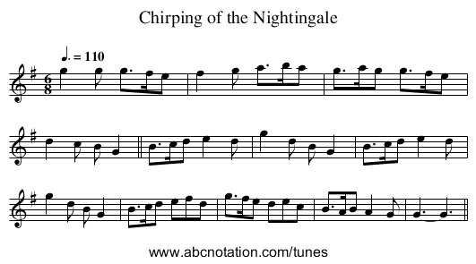 Chirping of the Nightingale - staff notation