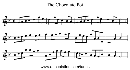 Chocolate Pot, The - staff notation
