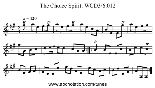 Choice Spirit. WCD3/6.012, The - staff notation