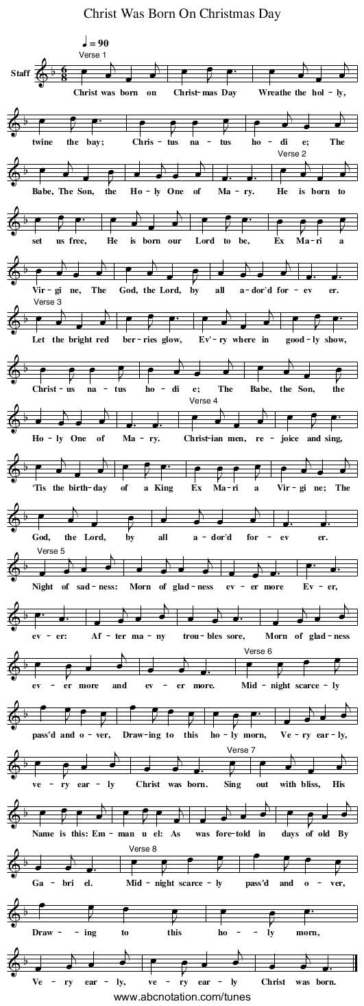 Christ Was Born On Christmas Day - staff notation