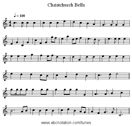 Christchurch Bells - staff notation