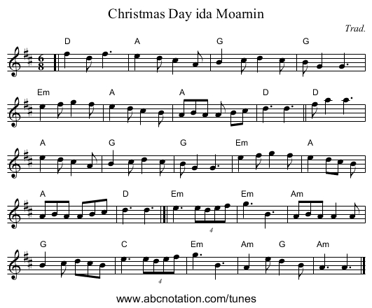 Christmas Day ida Moarnin - staff notation