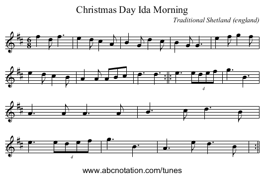 Christmas Day Ida Morning - staff notation