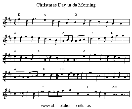 Christmas Day in da Morning - staff notation