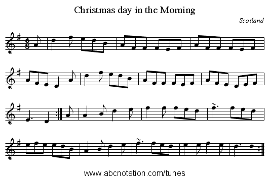 Christmas day in the Morning - staff notation