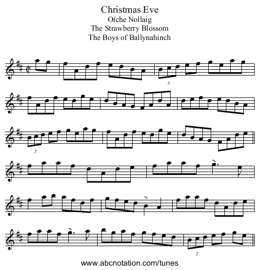 Christmas Eve - staff notation