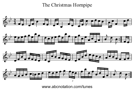 Christmas Hornpipe, The - staff notation