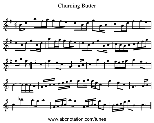 Churning Butter - staff notation