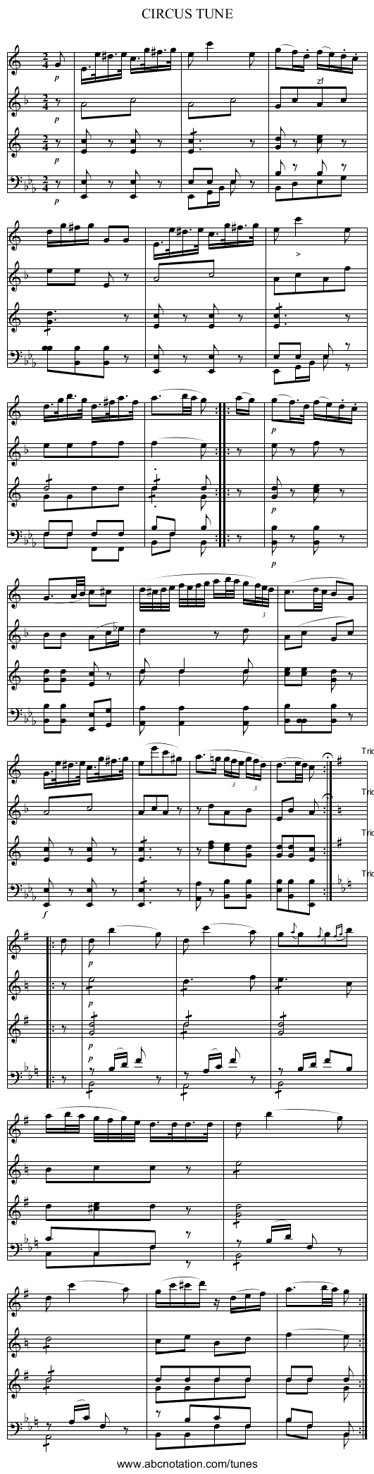 CIRCUS TUNE - staff notation