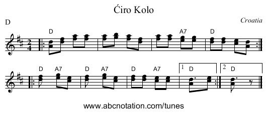 Ćiro Kolo - staff notation