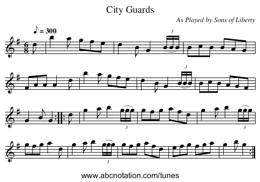City Guards - staff notation