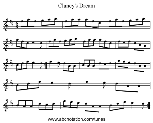 Clancy's Dream - staff notation