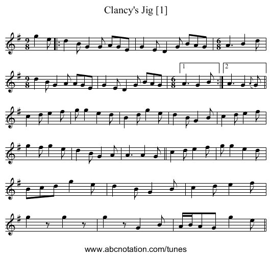 Clancy's Jig - staff notation