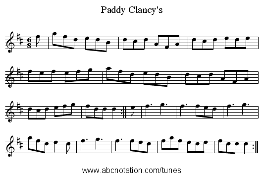 Clancy's, Paddy - staff notation