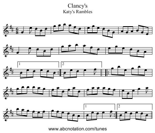 Clancy's - staff notation
