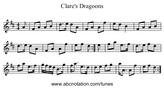 Clare's Dragoons - staff notation