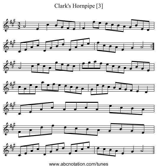 Clark's Hornpipe [3] - staff notation