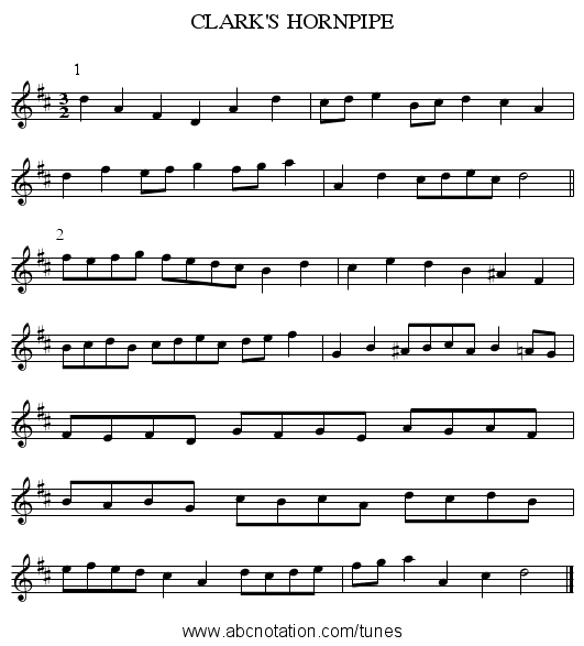 CLARK'S HORNPIPE - staff notation