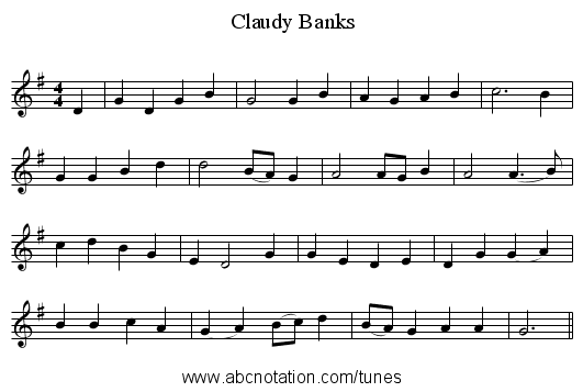 Claudy Banks - staff notation