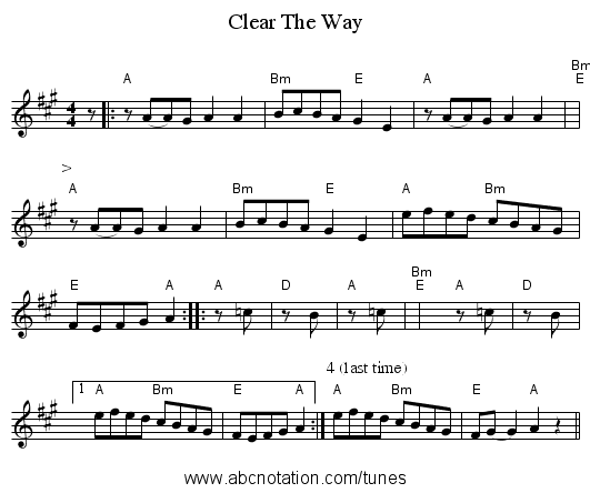 Clear The Way - staff notation