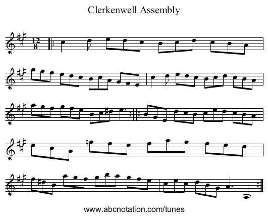 Clerkenwell Assembly - staff notation