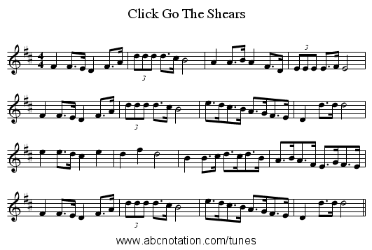 Click Go The Shears - staff notation