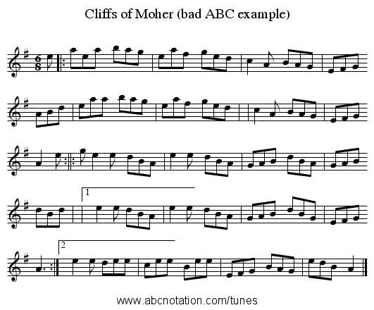 Cliffs of Moher (bad ABC example) - staff notation