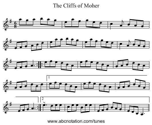 Cliffs of Moher, The - staff notation