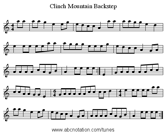 Clinch Mountain Backstep - staff notation