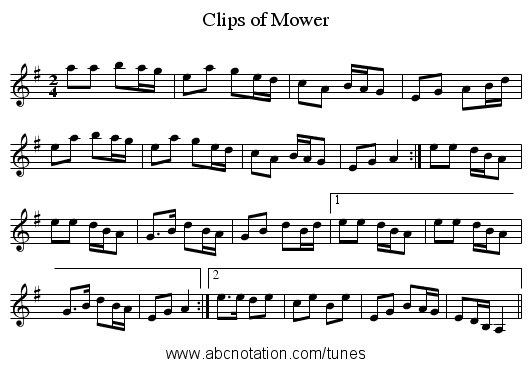 Clips of Mower - staff notation