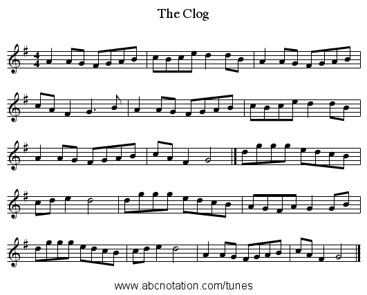 Clog, The - staff notation