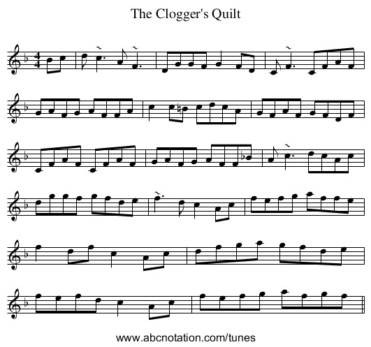 Clogger's Quilt, The - staff notation