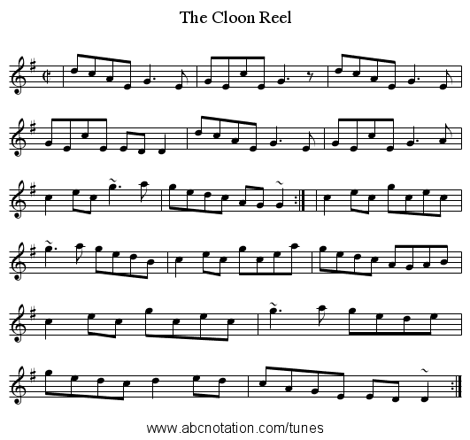 Cloon Reel, The - staff notation