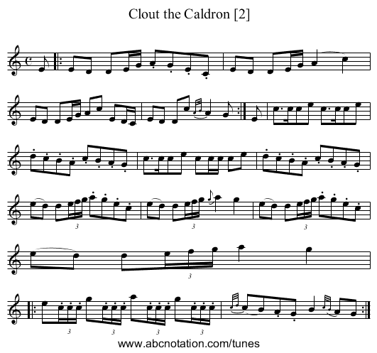Clout the Caldron [2] - staff notation