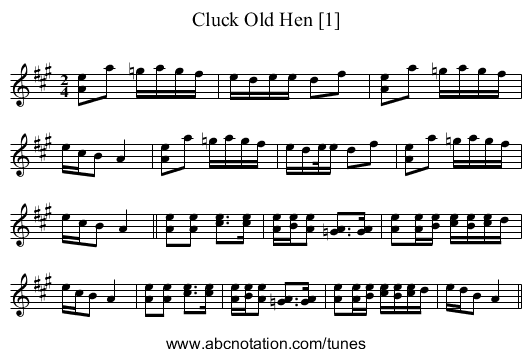 Cluck Old Hen [1] - staff notation