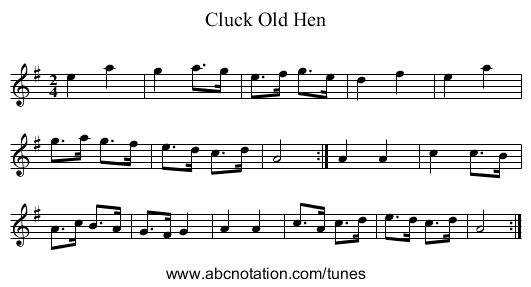 Cluck Old Hen - staff notation