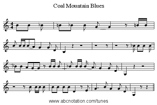 Coal Mountain Blues - staff notation