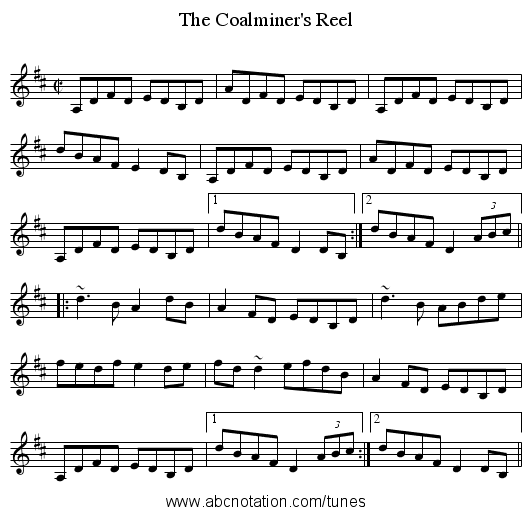 Coalminer's Reel, The - staff notation