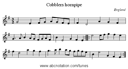 Cobblers hornpipe - staff notation
