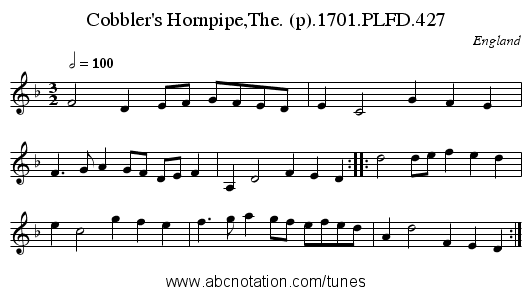 Cobbler's Hornpipe,The. (p).1701.PLFD.427 - staff notation