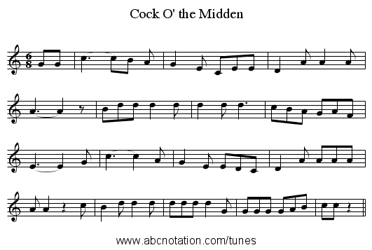 Cock O' the Midden - staff notation