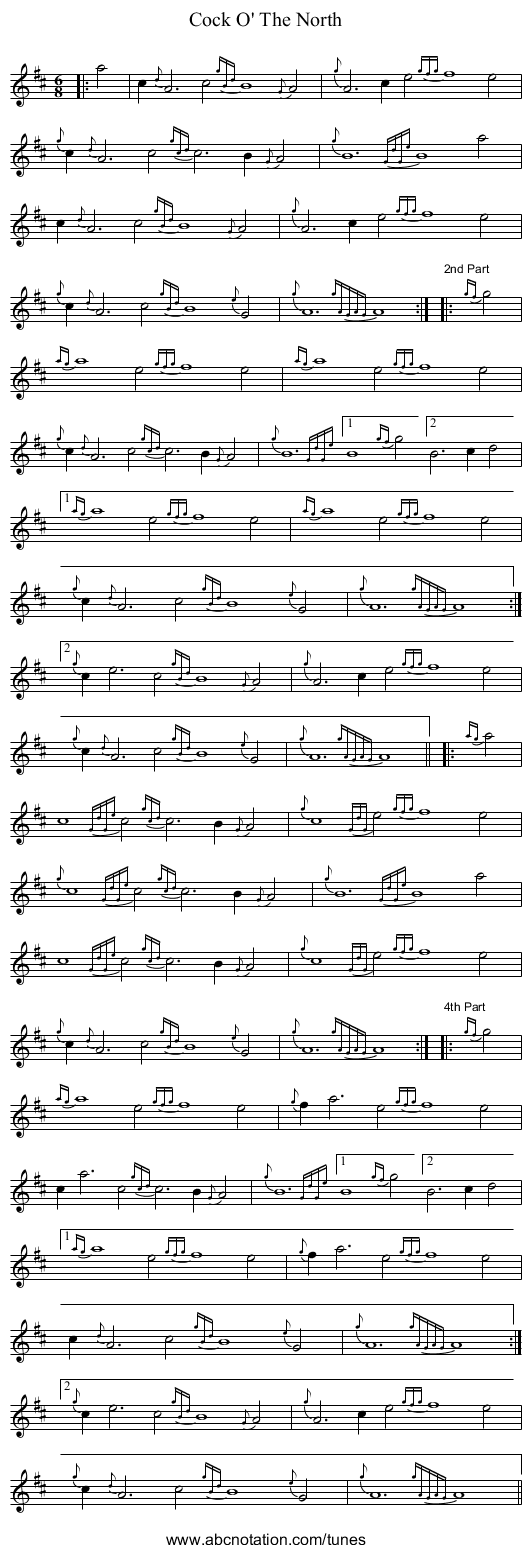 Cock O' The North - staff notation