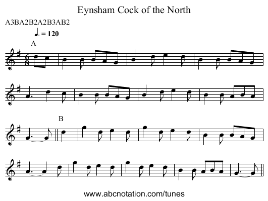 Cock of the North, Eynsham - staff notation